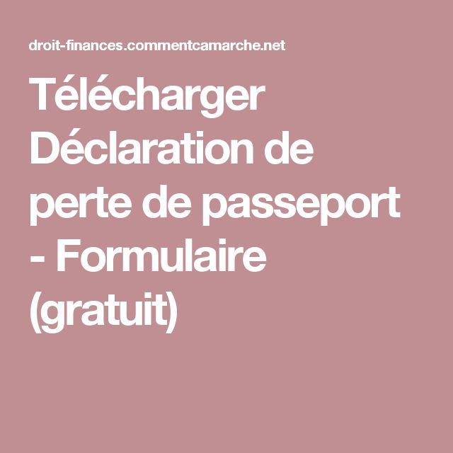 Télécharger Déclaration de perte de passeport - Formulaire (gratuit)