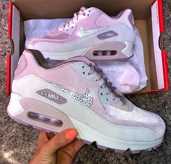 Swarovski Nike Air Max 90 Lx Pink Velvet Shoes Women S Bling Sneakers Cute Sneakers Nike Air Max Sneakers
