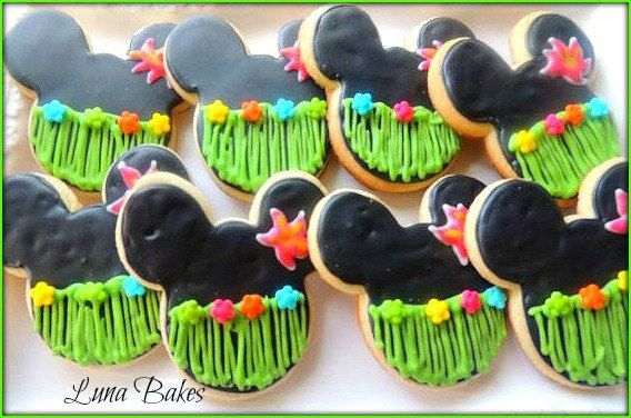 Luau Minnie Mouse Cookies Party Favors Luau Birthday by LunaBakes