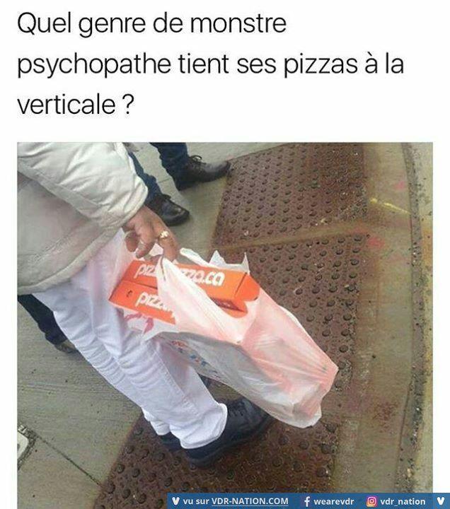 Inderdaad, Welke dommerik vervoert z'n pizza's vertikaal?