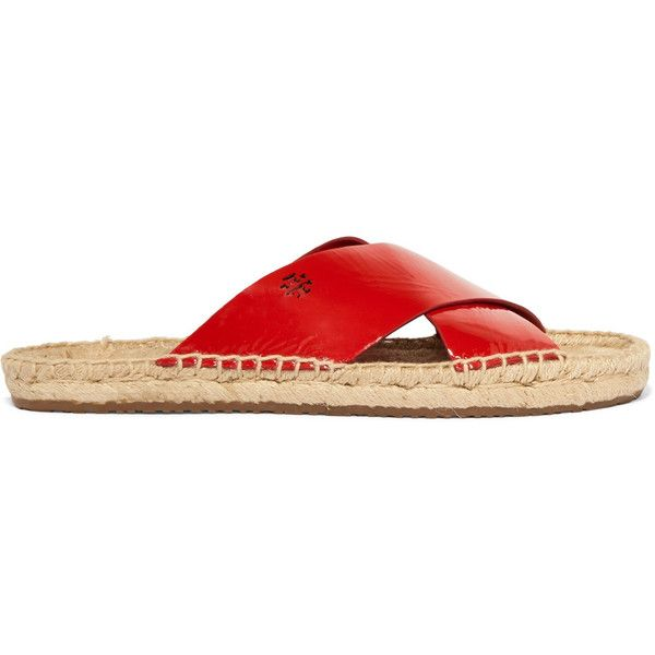 Tory Burch Bima patent-leather espadrille slides (11920 RSD) ❤ liked on Polyvore featuring shoes, red, cutout shoes, tory burch shoes, tory burch espadrilles, patent shoes and red espadrille shoes