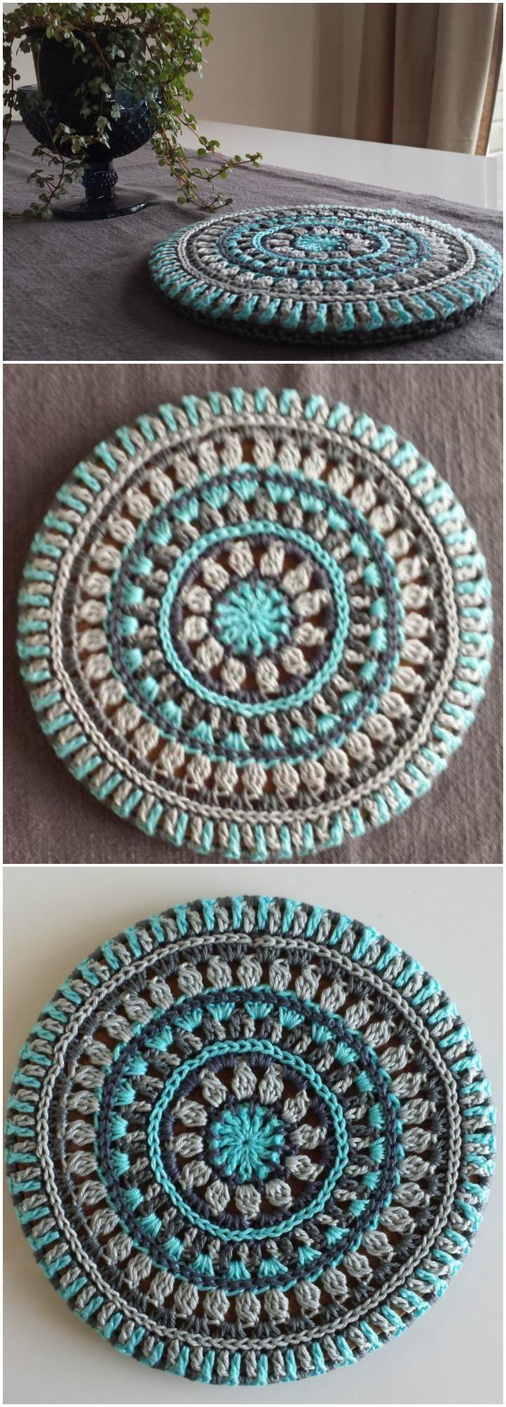 free crochet mandala trivet cover pattern