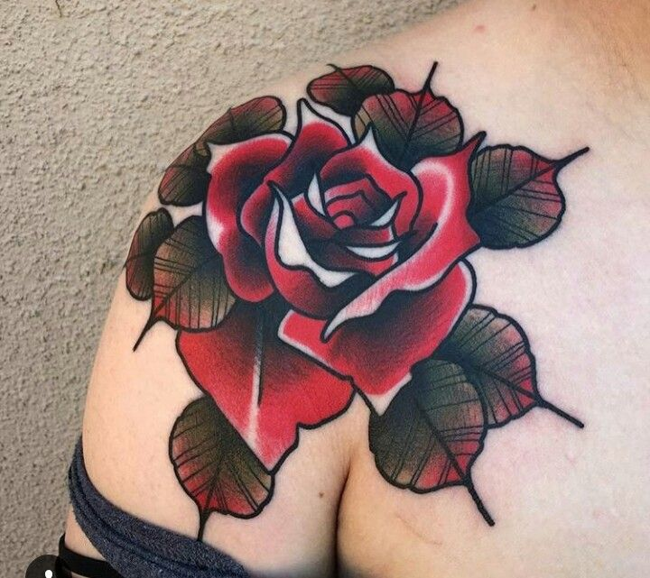 Traditional Tattoo | Rose | Shoulder Tattoo | Feminine