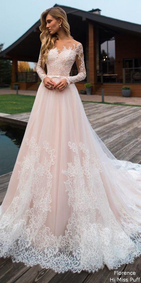 Lace wedding dress tulle wedding dress,long sleeves bridal dress off shoulder we…