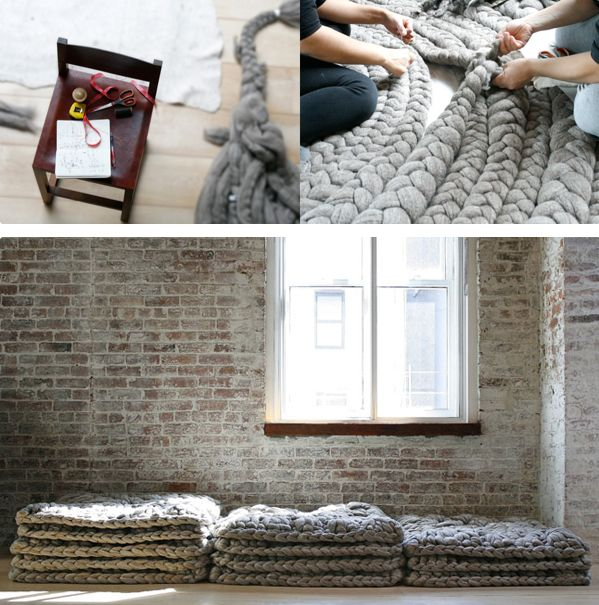 These seem easy enough, just like those potholders you make in elementary school, except in giant awesome rug form.  Although buying all that material would be pretty pricey.