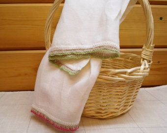 Linen Towels Handmade knitted laceLinen Rustic Towels Flax