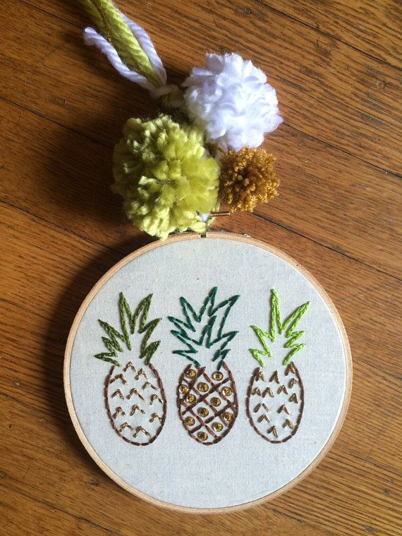 Pineapple Embroidery Hoop by KnotConfetti on Etsy
