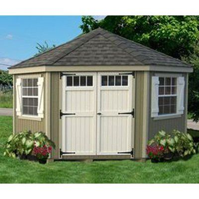 Little Cottage 10 x 10 ft. 5-Sided Colonial Panelized Garden Shed with Transom Windows - 10X10 5-SCGS-WPNK