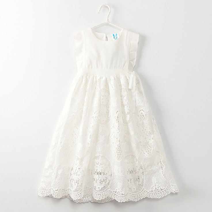 White Lace Accented Princess Dress for Girls