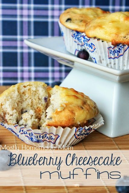 Blueberry Cheesecake Muffins - these muffins take store bought mix to the next level!! Really easy, and gone in minutes!