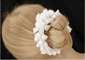 First Holy Communion Bun Ring - Ice White -  White Flower First Communion Crown, Halo