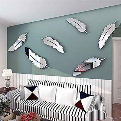 Raza Removable DIY Silver Feather 3D Mirror Wall Art Stickers Decal Home Kids Bedroom Bathroom Mural Decor