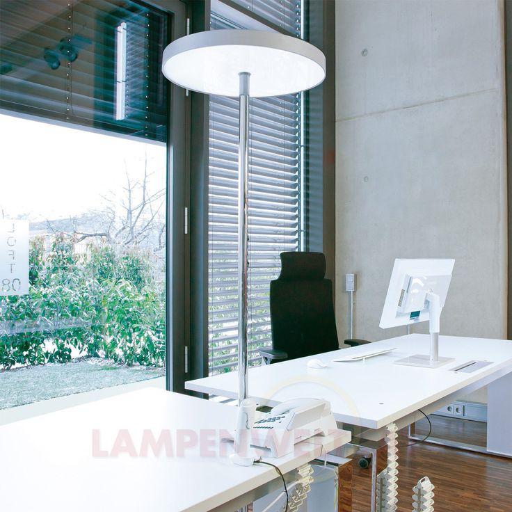 Beleuchtung im #Büro - auf die futuristische Art! Diese #Stehleuchte gibt 9.100 Lumen Lichtstrom ab und sagt damit Kopfschmerzen und Müdigkeitserscheinungen durch schlechte Beleuchtung Lebewohl! Weitere #Features: Bedien-Touchfeld, getrennt dimmbare Lichtsteuerung und tageslichtabhängige Sensorsteuerung. So sieht #Bürobeleuchtung heute - und morgen - aus!