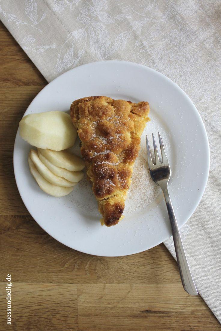 Apfel-Streuselkuchen mit Pudding und Zimt