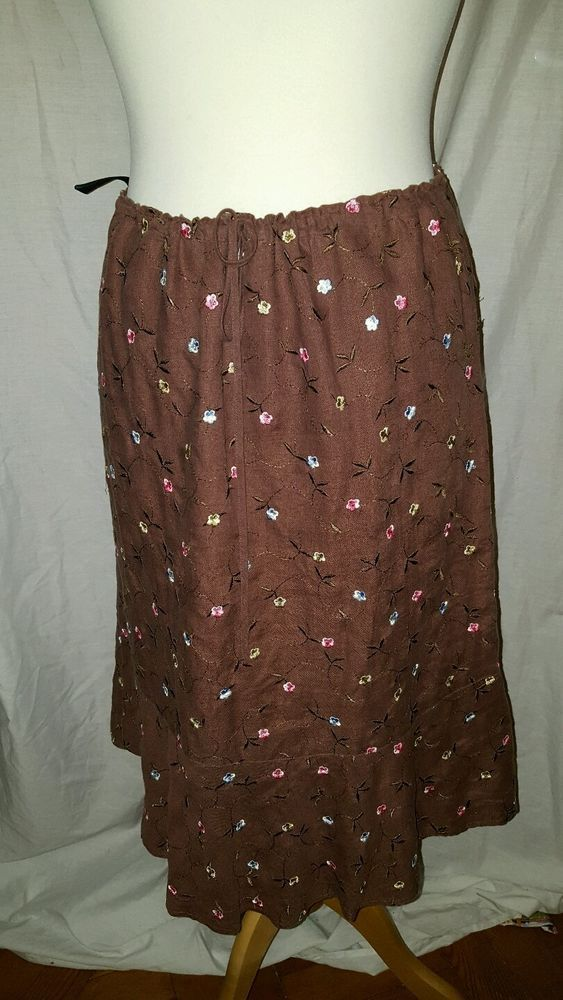 Boden Size 12 Drawstring Ladies Womens  Brown Linen Skirt Smart Casual Stylish