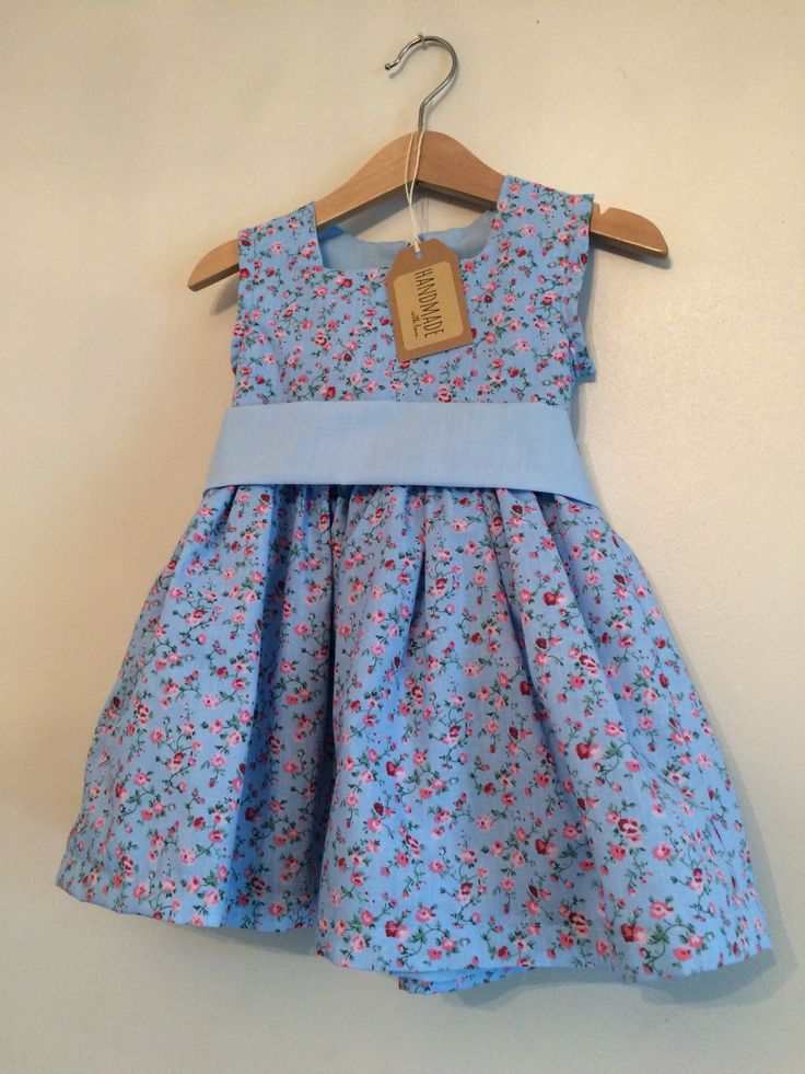 Corn flower blue floral dress age 2-3  Hand made by Kiddy boutique