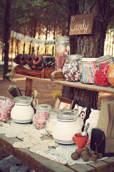 Rustic candy bar! Too cute. {via Project Wedding}