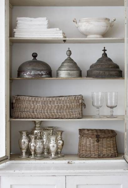 great texture and collectionVignettes, Kitchens, Mercury Glasses, Decor Ideas, Open Shelves, Interiors, Silver, Display, Baskets