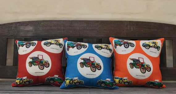 Vintage cars for the boys.  Made with a vintage Irish linen tea towel, new unused condition. I have given it one wash to pre-shrink the linen.