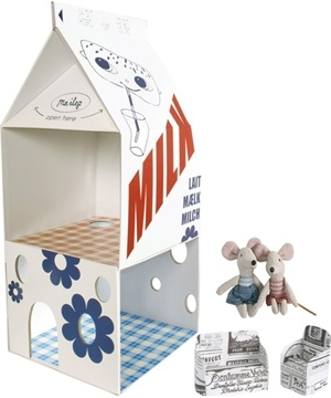 Furnished milk carton mouse house with two mice by Maileg