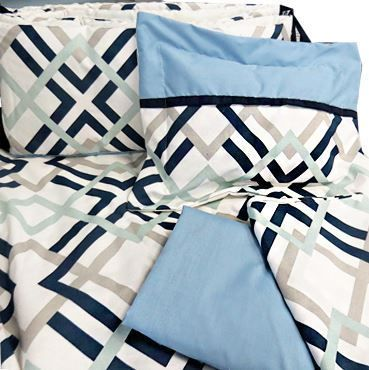 Picture of Rich Navy Blue And Lime Green This fun geometric design features soothing shades of robin egg blue, French gray, and navy. Printed on an antique white cotton duck, this fabric is great for all of your home decor project. #navy #gray #Geometric  #boy #decor