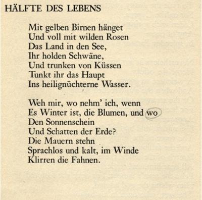 Friedrich Hölderlin    Hälfte des Lebens -- One half of life  Das beste #Gedicht das ich kenne.  #Kultur #Arte #Art #Poem