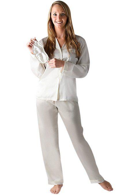 Womens White Satin Pajamas