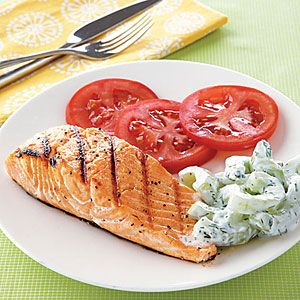 Healthy Grilled Recipes Under 300 Calories    Grilled Salmon with Cucumber-Yogurt Salad   MyRecipes.com