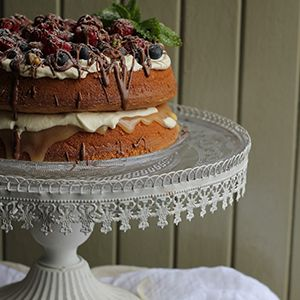Lemon Curd & Berry-Filled Sponge by Nessa Robins.   A tangy combination of lemon curd and berries with smooth cream and light sponge.