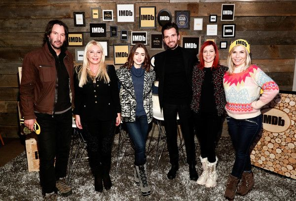 """Actor Keanu Reeves, producer Monika Bacardi, actress Lily Collins, producer Andrea Iervolino, actress Carrie Preston and writer/director Marti Noxon of """"To The Bone"""" attend The IMDb Studio featuring the Filmmaker Discovery Lounge, presented by Amazon Video Direct: Day Two during The 2017 Sundance Film Festival on January 21, 2017 in Park City, Utah."""