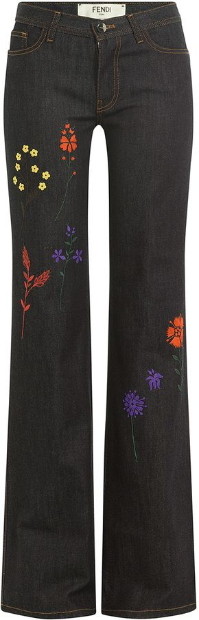 Fendi Embroidered Flared Jeans