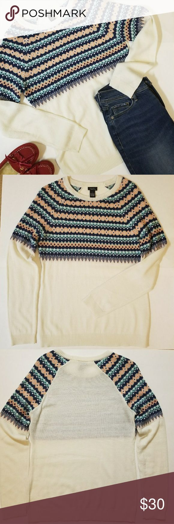"""New! Rue 21 Stylish  Sweater Cozy and stylish  sweater.  No matter the temperature, you'll look cool! Perfect with pair jeans!  Size L on the tag, but in my opinion this  sweater fit Size L (Juniors) or Size S/M(Women). Please ck measurements below. New without tag. No defects. Measurements taken while laying down flat with no stretching:  Chest (armpit to armpit) 18"""" Length (top of the shoulder down to the bottom) 22""""  Smoke free and pet free home. *Listing for sweater only. Pants and shoes…"""