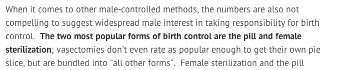 According to this feminist, female sterilization is a more popular form of birth control-- What do you think?