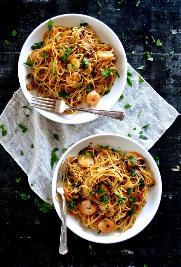 Soy Sauce Butter Pasta with Shrimp and Shiitakes by thewoksoflife #Pasta #Shrimp #Shittakes #Soy_Sauce #Asain