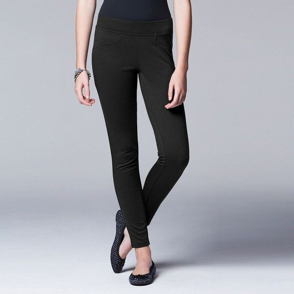 Simply Vera Vera Wang Solid Ponte Leggings ($21) ❤ liked on Polyvore featuring pants, leggings, black, plus size, plus size ponte pants, plus size patterned leggings, womens plus size leggings, plus size pants and stretch pants