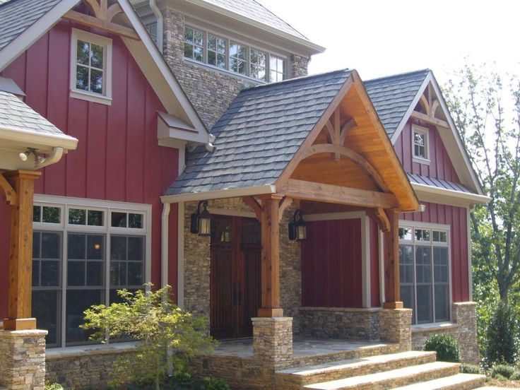 Exterior colors... Farmhouse with red siding and stone accents