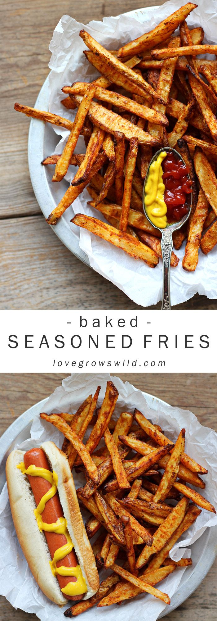 Homemade seasoned fries - baked, not fried! Get the secret to perfectly crisp and delicious fries at LoveGrowsWild.com