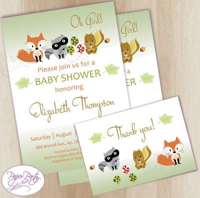 Woodland Baby Shower Invitation Fox Forest Baby Shower Invitations Green Baby Shower Invitation Invites - Free Thank You Card by PaperPartyDesignUS on Etsy