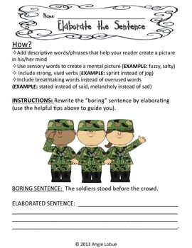"""ELABORATE/ENHANCE THE SENTENCES - SET 1: CREATIVE WRITING ACTIVITY -Need a great resource to help your students improve their writing skills?  Included in this download are 10 """"Elaborate the Sentence"""" activities with suggestions on what to add to make the sentence descriptive and detailed. Check out Elaborate the Sentence 2 as well. Happy writing! #writing www.facebook.com/positivelypassionateaboutteaching"""