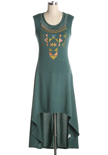 A touch of boho. Green hi-lo dress with v-neck and multi-coloured embroidered design at front. Soft light sweater fabric that is perfect for breezy days. Top part is form fitting. 70% cotton, 30% rayon Slightly stretchy Not lined Hand wash cold; hang dry Indie, Retro, Party, Vintage, Plus Size, Convertible, Cocktail Dresses in Canada NEW: Inner Journey Dress -