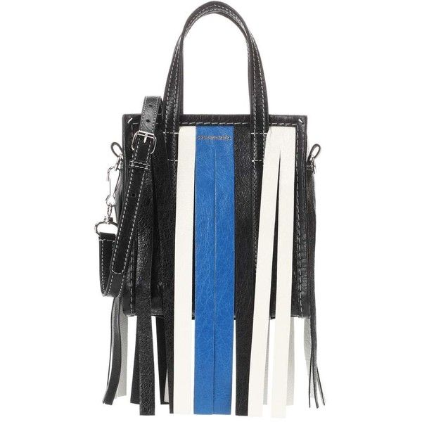 Balenciaga Bazar Fringes XXS Leather Shopper (€1.480) ❤ liked on Polyvore featuring bags, handbags, tote bags, multicoloured, genuine leather tote, fringe purse, shopper tote bag, leather tote bags and leather tote shopper