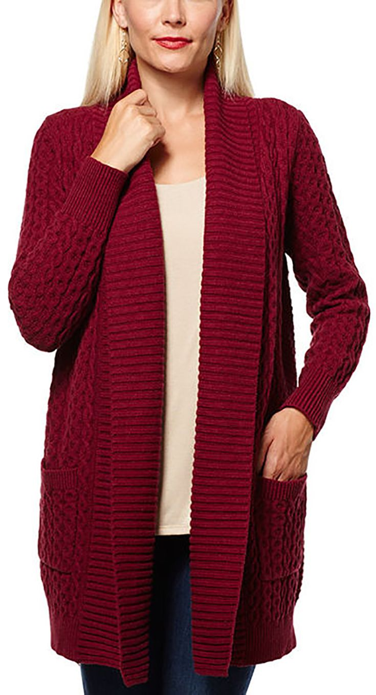 Cardigans And Necklaces: Leo & Nicole Ladies' Cable Cardigan-Vino Red
