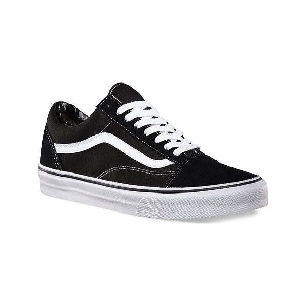 Vans Old Skool Sneaker ($55) ❤ liked on Polyvore featuring shoes, sneakers, casual shoes, black and white trainers, canvas lace up sneakers, black evening shoes, black leather sneakers and black leather shoes