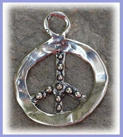 Sterling Silver Artisan Knobby PEACE SIGN SYMBOL