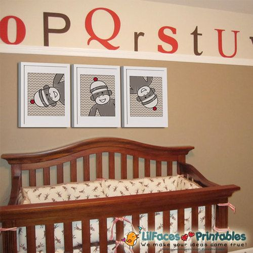 Sock Monkey Nursery Decor - Wall Art Printable 8x10 Poster set of 3 Posters - Instant Download #nurseryideas #nurserydecor #nurseryart