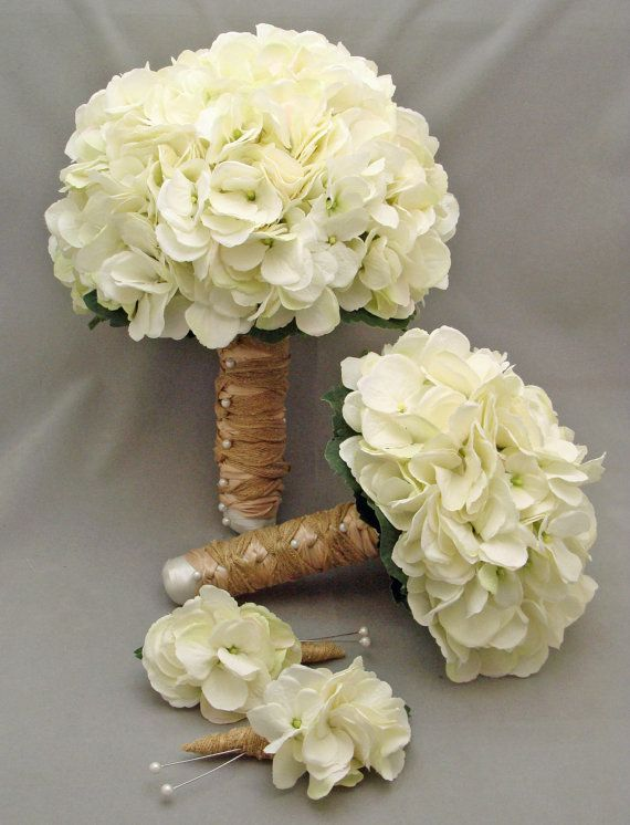 White Silk Hydrangea Bridal & Bridesmaid Bouquet Groom's Best Man Boutonniere - Silk Flower Wedding Package - Choose Your Colors. $155.00, via Etsy.: