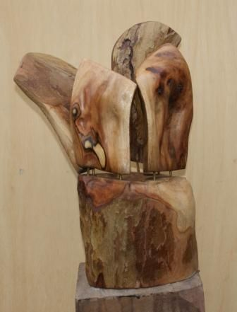 Inside out, 40x27x27, plane tree wood, 2010. I have here  the upper part turned inside out.