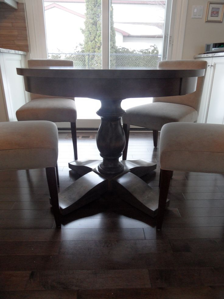 Canadian made solid maple Contemporary pedestal base dining table fits perfectly in a smaller space