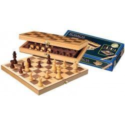 Coffret jeu d'échec 30 cm pliable : 1 plateau bois + 32 Pièces bois