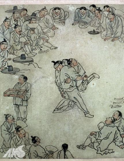 [Middle Ages-Joseon] Painting of Korean wrestling, by Danwon Kim Hong-do | Korea